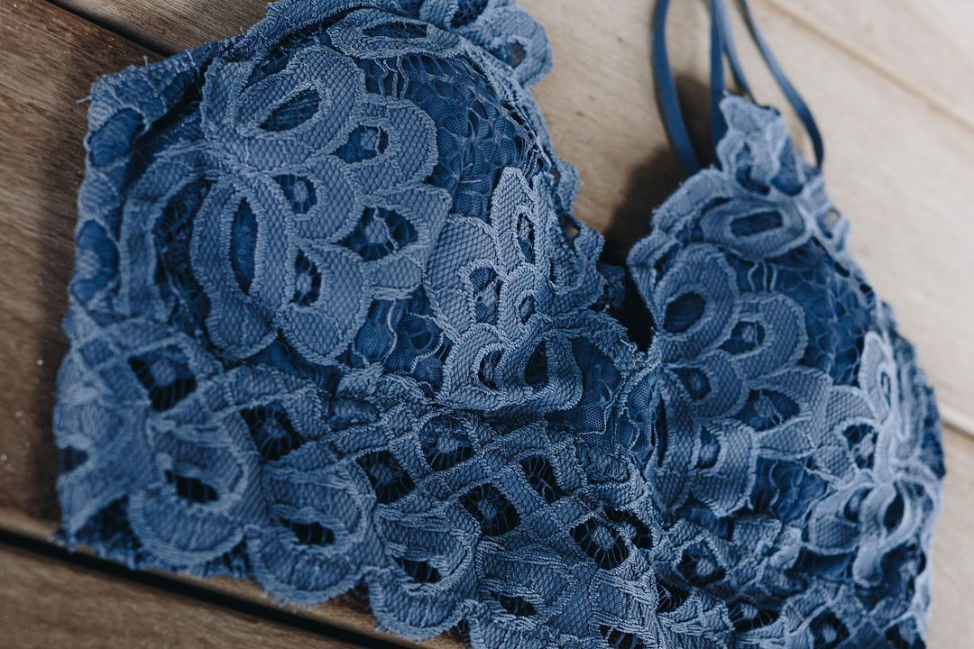 XOXO Scalloped Lace Bralette In Cornflower Blue