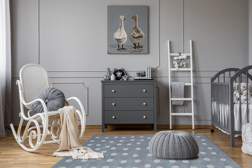 Photo of Organic Cotton Polka Dot Rug in Grey in baby nursery