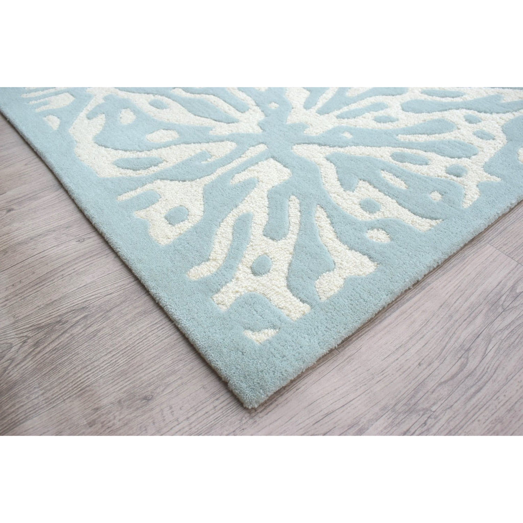 Quinn Turquoise Blue Wool Rug handtufted wool Organic Weave Shop 2'9'' x 10' Turquoise