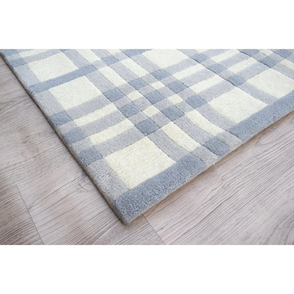 "Aspen Plaid Wool Rug Blue SAMPLE samples Organic Weave Shop 12""x12"" Blue"
