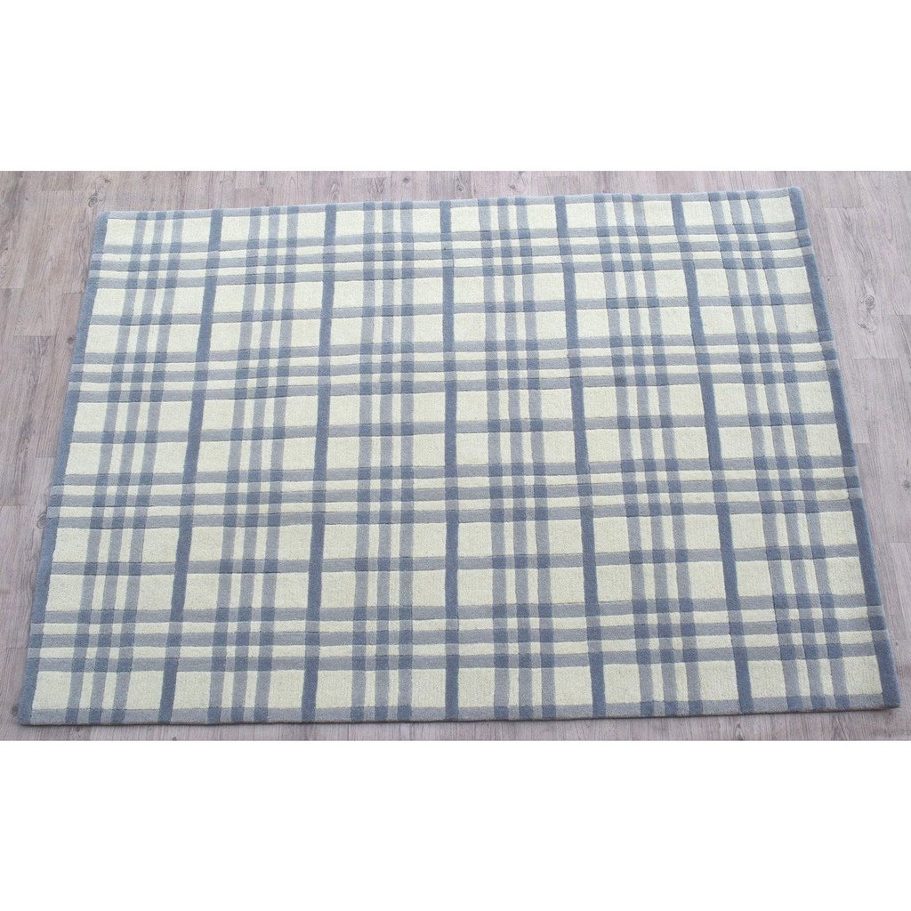 Aspen Plaid Wool Rug Blue handtufted wool Organic Weave Shop