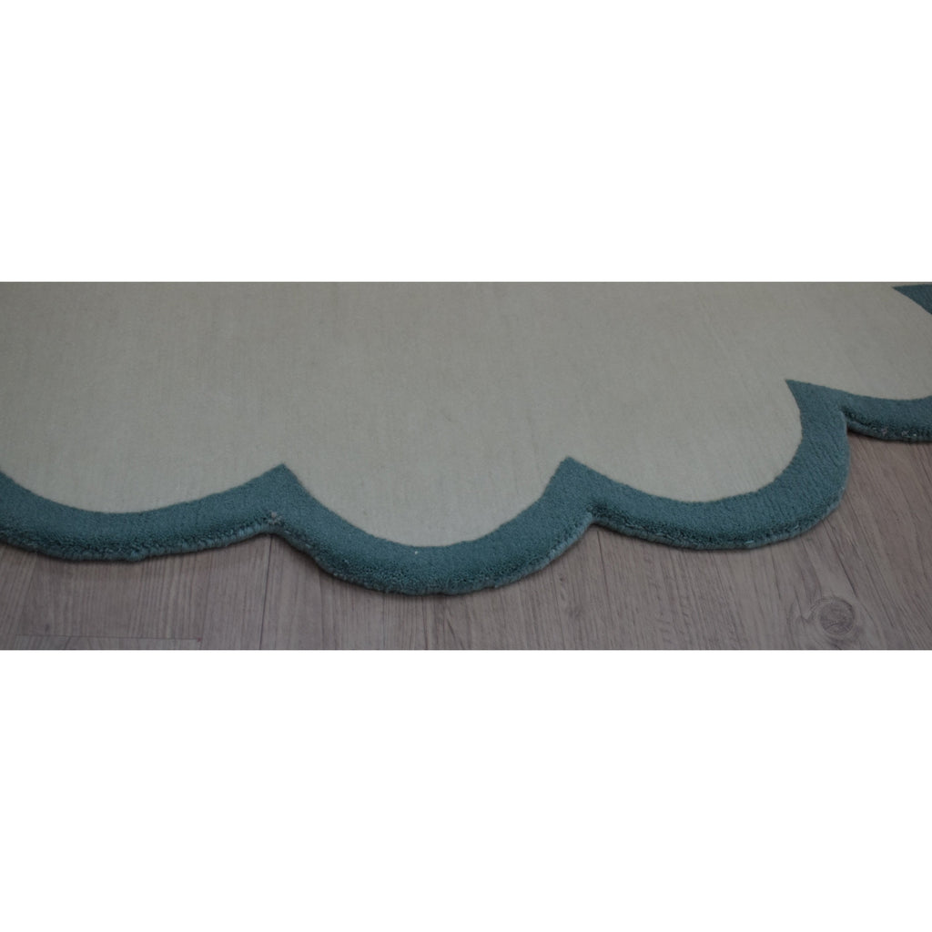 Scalloped Edge Aqua handknotted tibetan 60 knot Organic Weave Shop