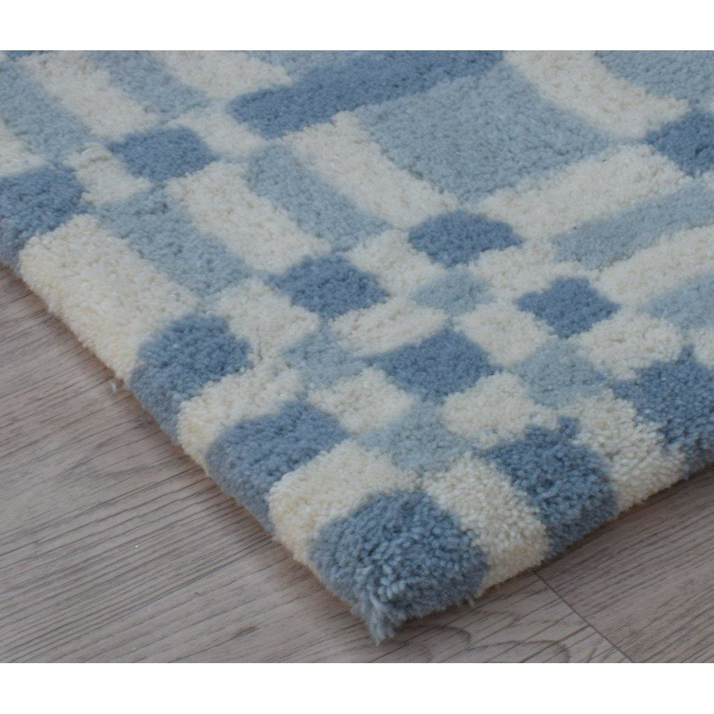 Fluffy Plaid Wool Shag Blue handtufted wool shag Organic Weave Shop 2'9'' x 10' Runner Blue Wool