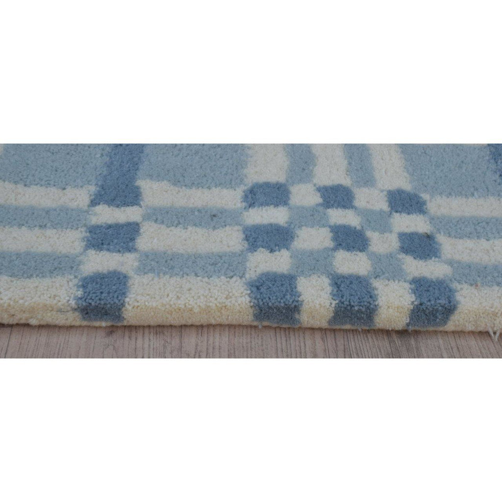 Fluffy Plaid Wool Shag Blue handtufted wool shag Organic Weave Shop