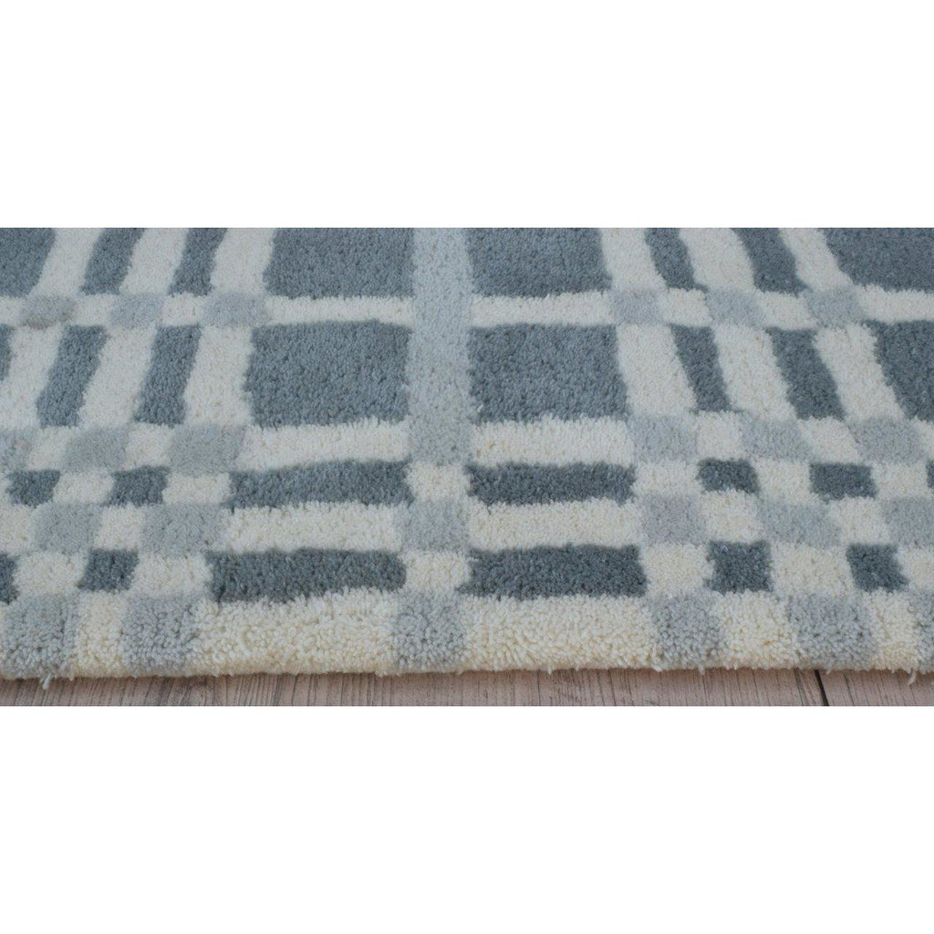 Fluffy Plaid Wool Shag Grey handtufted wool shag Organic Weave Shop