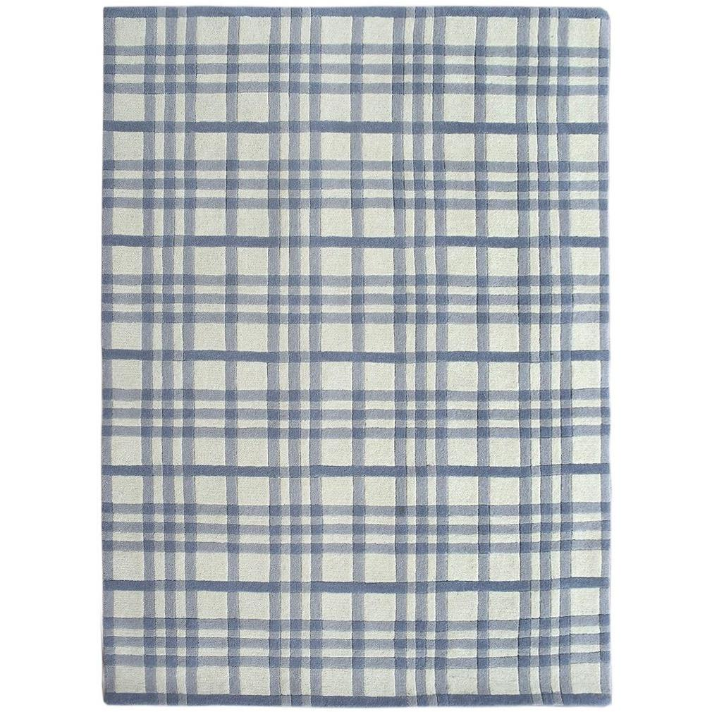 Aspen Plaid Wool Rug Blue SAMPLE samples Organic Weave Shop