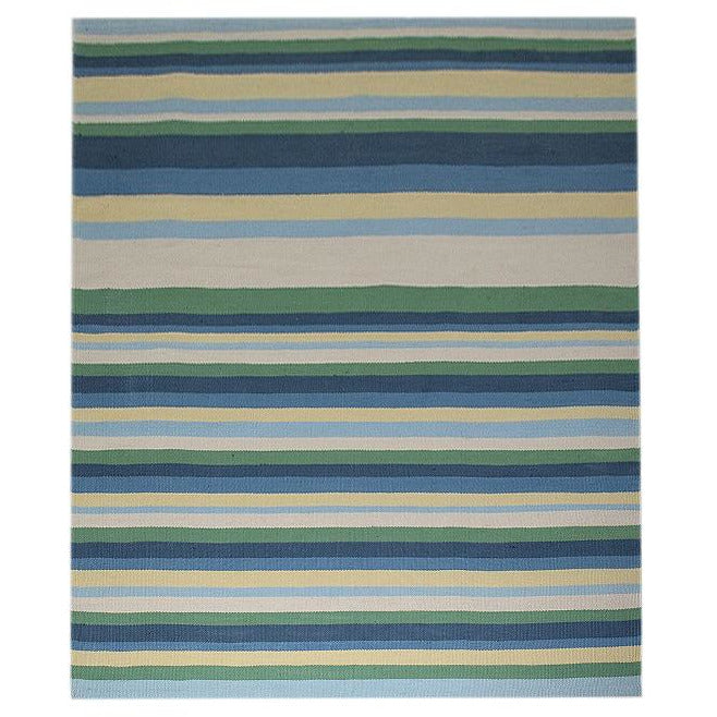 Cotton Flatweave Blue Stripe In Stock Rugs Organic Weave Shop