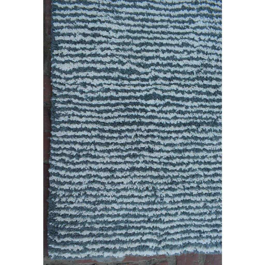 Seersucker Wool + Cotton Shag handtufted wool + cotton shag Organic Weave Shop 5'x7' Medium Blue