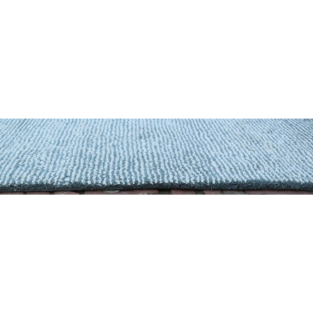 Seersucker Shag 5x8 Blue handtufted wool + cotton shag Organic Weave Shop