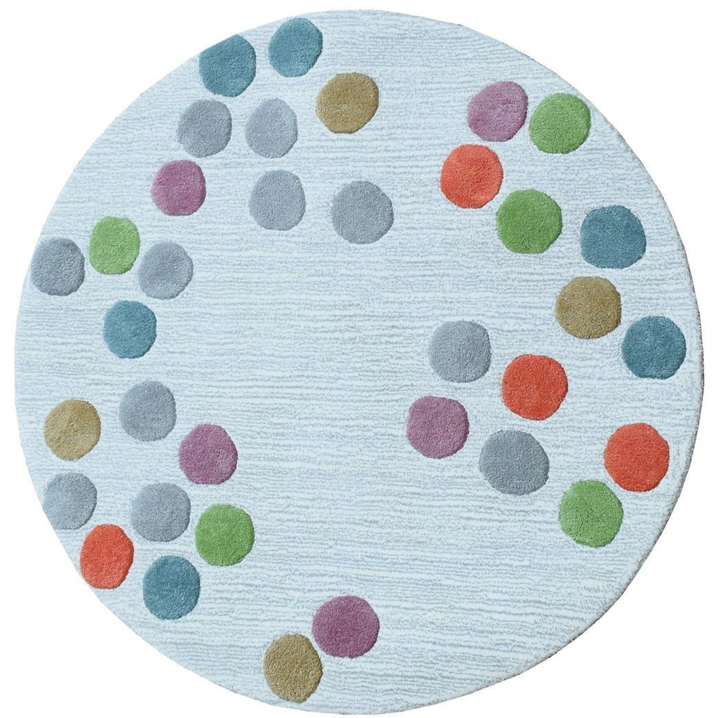 Rainbow Polka Dot 3' Circle Rug handtufted cotton Organic Weave Shop