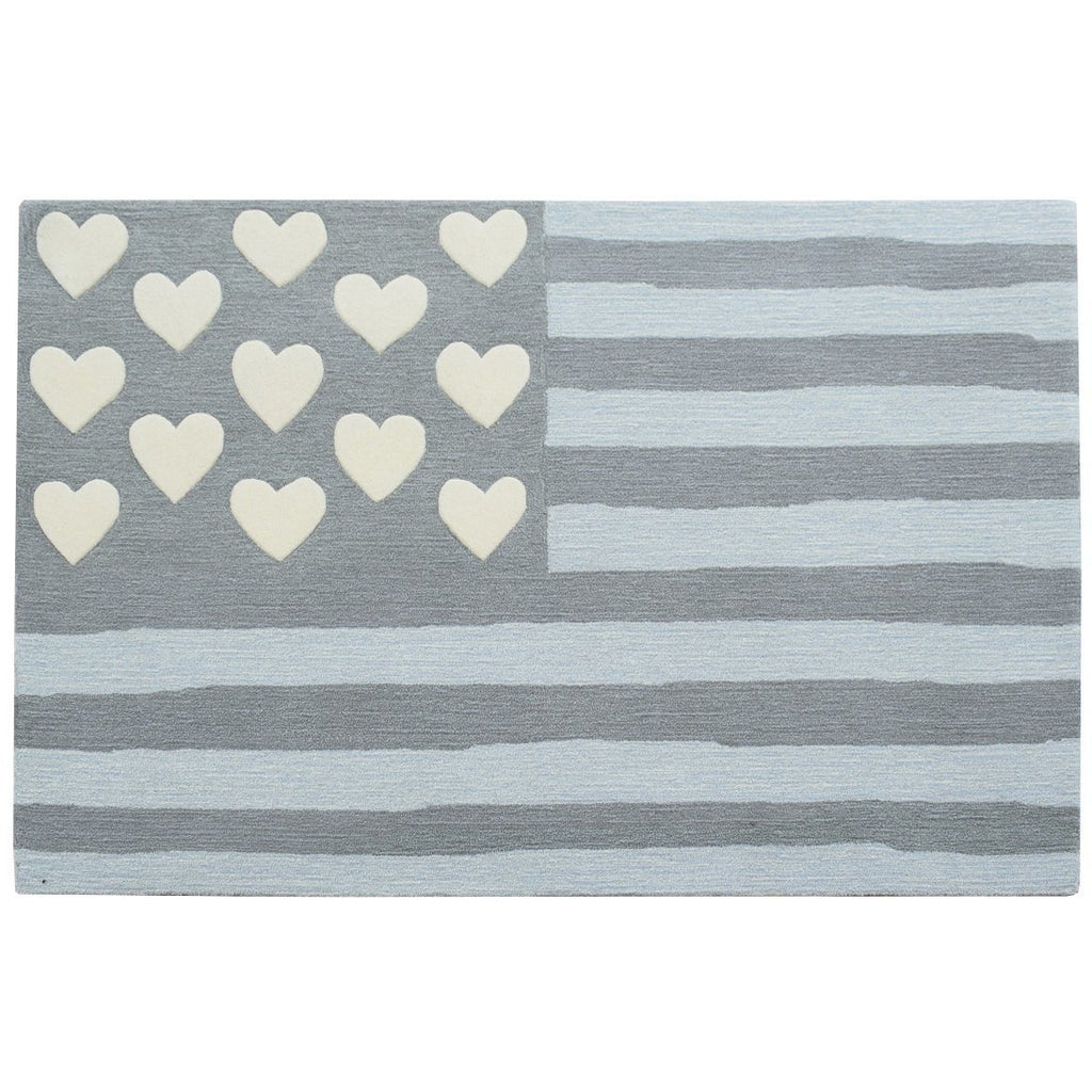 Hearts and Stripes 4 x 6 Wool Rug handtufted wool Organic Weave Shop