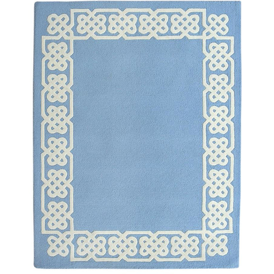 Worth Ave Wool Rug Blue 5'x7' handtufted wool Organic Weave Shop