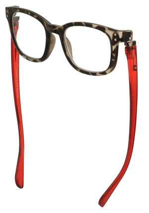 Bunny Eyez Anna Readers - Diamond Clear Tortoise With Ruby Red Temple -Down position