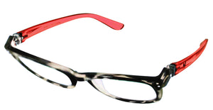 Bunny Eyez Anna Readers - Diamond Clear Tortoise With Ruby Red Temple - 3/4 position