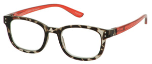 Bunny Eyez Anna Readers - Diamond Clear Tortoise With Ruby Red Temple - Up position