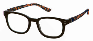 Bunny Eyez Anna Readers - Jet Black With Tortoise Temple - Up position