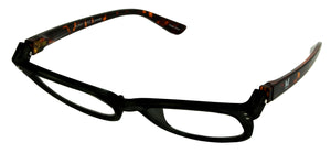 Bunny Eyez Anna Readers - Jet Black With Tortoise Temple - 3/4 position
