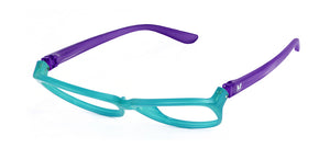 Sabina Blue Lens Reader Faux Aqua/Purple | Bunny Eyez