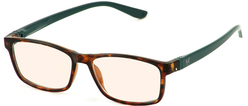 Bunny Eyez Guyz Blue Screen Lens Reader in Faux Tortoise/Dark Aqua