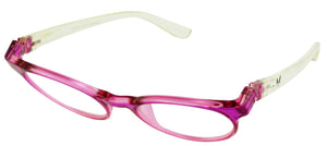 Bunny Eyez Sophie Readers - Fuschia Pink And Diamond Clear Crystal - Tilted