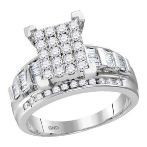 10kt White Gold Womens Round Diamond Cindys Dream Cluster Bridal Wedding Engagement Ring 1/2 Cttw