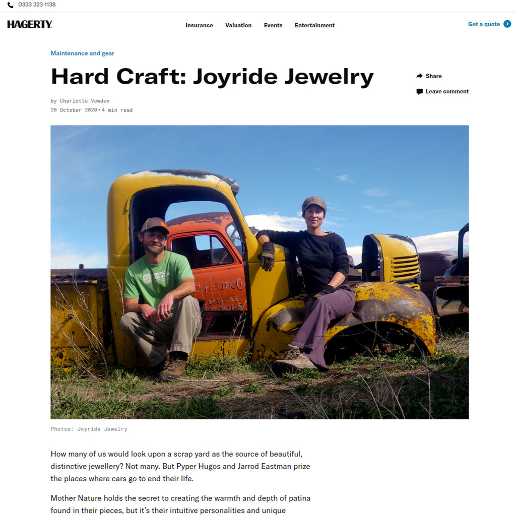 HAGERTY article about jewelry made from cars