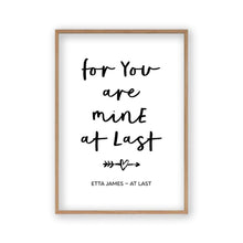 For You Are Mine At Last Lyrics Print - Blim & Blum