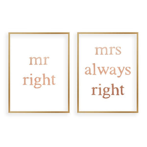Mr Right Mrs Always Right - Set Of 2 Prints