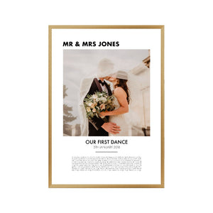 Personalised First Dance Photo Lyrics Second Anniversary Cotton Print