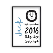 Load image into Gallery viewer, Personalised New Baby Birth Name Animal Print - Blim & Blum