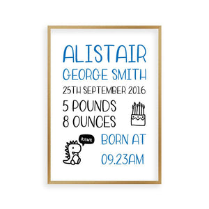 Personalised Baby Birth Print - Blim & Blum