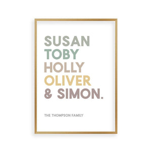 Personalised Family Names Print - Blim & Blum