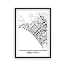 Personalised Favourite Location Couple Map B&W Print - Blim & Blum