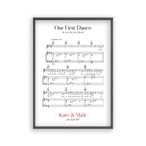 Personalised First Dance Wedding Music Sheet Notes Print - Blim & Blum