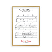 Load image into Gallery viewer, Personalised First Dance Wedding Music Sheet Notes Print - Blim & Blum