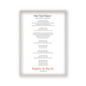 Personalised First Dance Song Wedding Lyrics Print - Blim & Blum