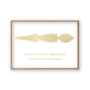 Personalised Gold Foil Favourite Song Sound Wave Print - Blim & Blum