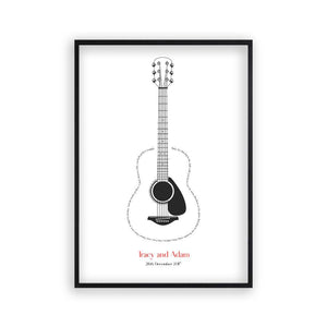 Personalised Guitar Song Lyrics Print - Blim & Blum