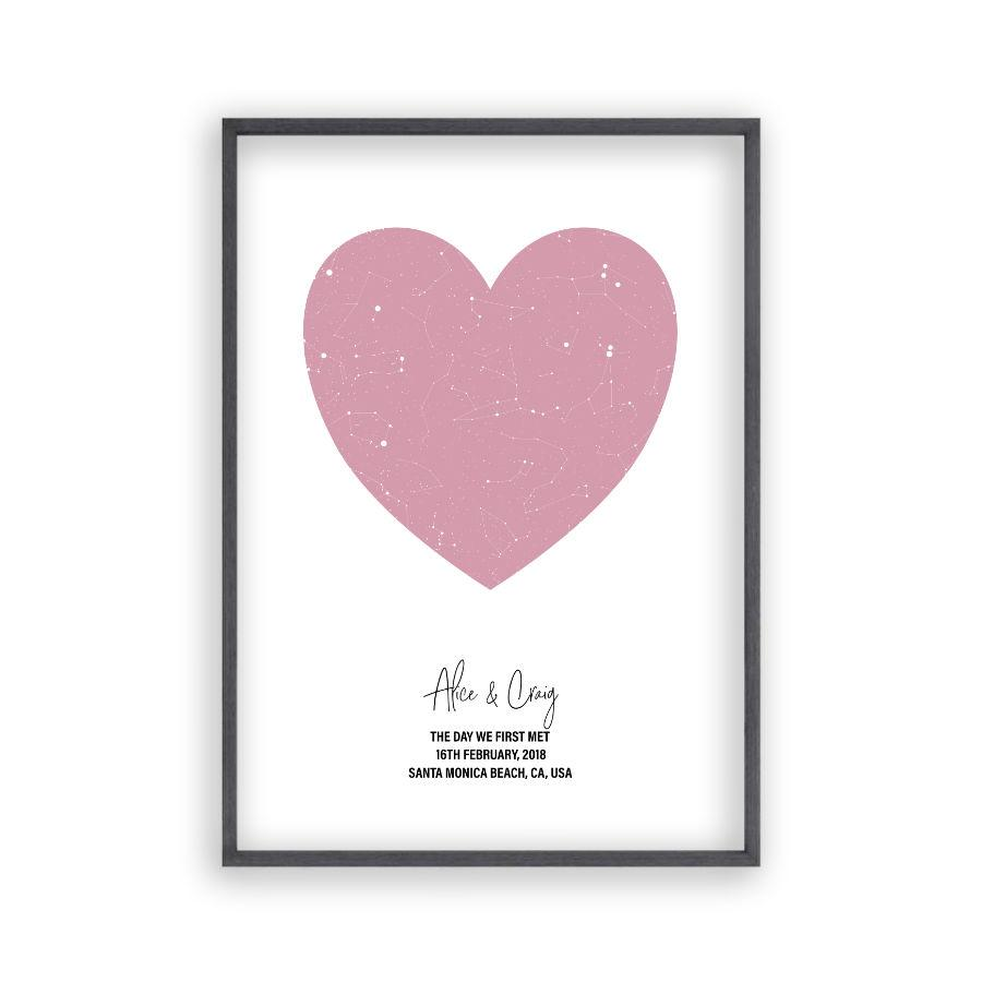 Personalised Heart Star Map Print