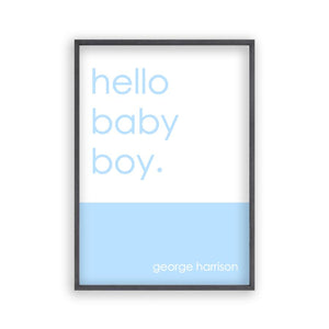 Personalised Hello Baby Boy Print - Blim & Blum