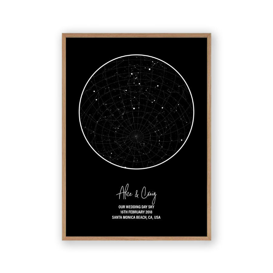 Personalised Star Map Night Sky Print Blim And Blum