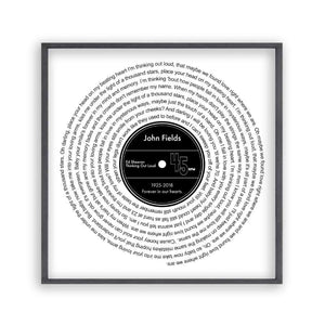 Personalised Memorial Song Music Lyrics Vinyl Print