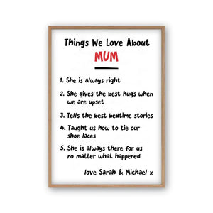 Personalised Things We Love About Mum Print - Blim & Blum