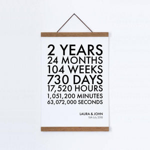 Personalised Time Canvas Print - Cotton 2nd Anniversary - Blim & Blum
