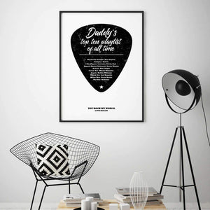 Personalised Top Songs Playlist Guitar Plectrum Print