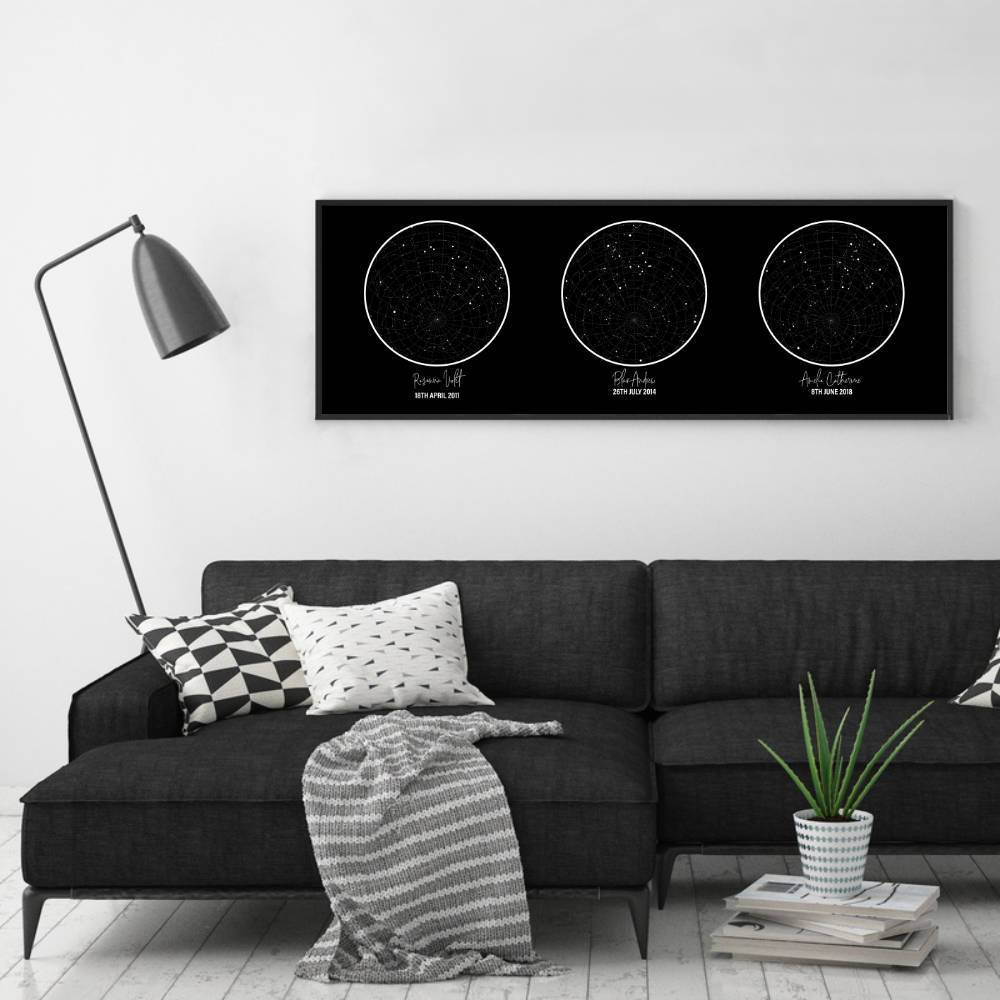 Personalised Trio Of Star Maps Print