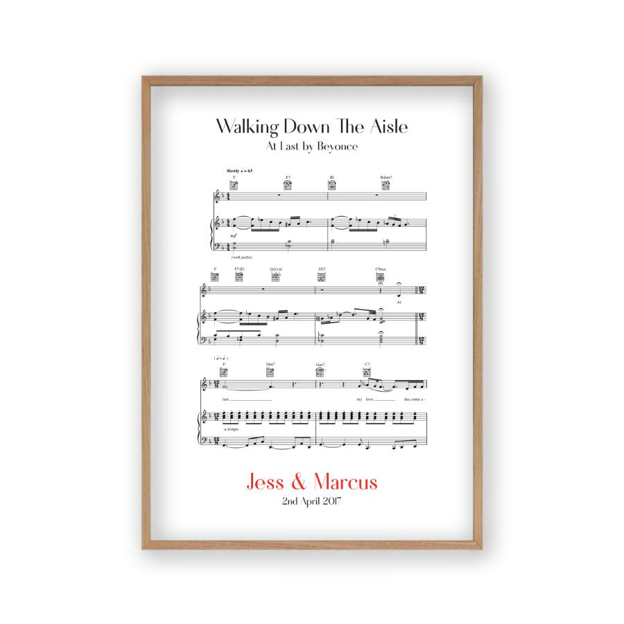 Personalised Walking Down The Aisle Music Sheet Notes