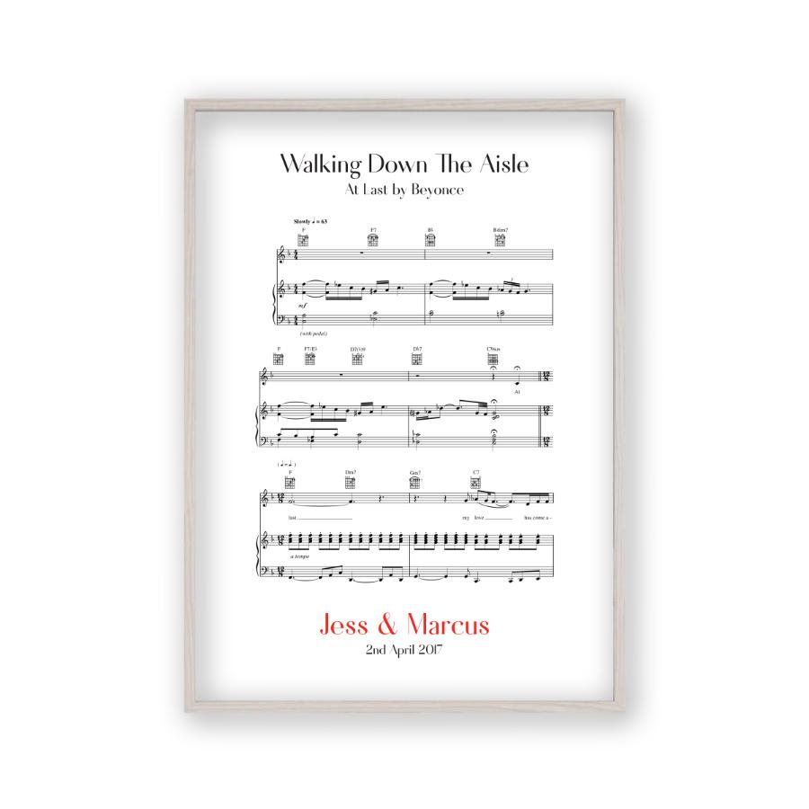 Piano Songs To Walk Down The Aisle To: Personalised Walking Down The Aisle Music Sheet Notes