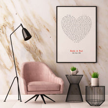 Load image into Gallery viewer, Personalised Wedding First Dance Song Lyrics Heart Print