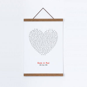 Personalised Wedding First Dance Song Lyrics Heart Print